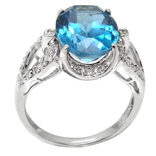 De Buman 14K White Gold Blue Topaz and 1/4ct TDW Diamond Ring (H-I, I1-I2)