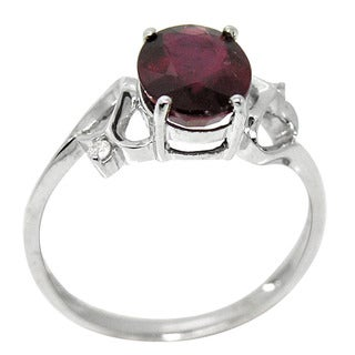 De Buman 10K White Gold Genuine Garnet and Diamond Accent Ring