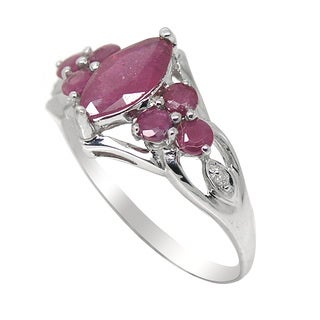 De Buman 10K White Gold Genuine Ruby and Diamond Accent Ring
