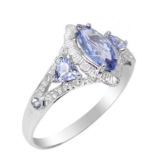 De Buman 10K White Gold Genuine Tanzanite and Diamond Accent Ring