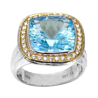 De Buman 14K Yellow Gold and Sterling Silver Blue Topaz with Cubic Zirconia Ring