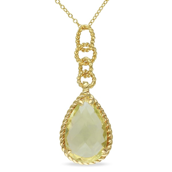 Miadora Yellow Plated Silver 10ct TGW Lemon Quartz Drop Necklace