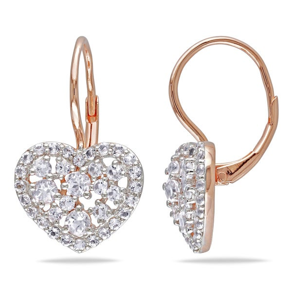 Miadora Rose Plated Silver 3ct TGW White Topaz Heart Earrings