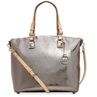 Michael Kors 'Jet Set' Nickel Mono Mirror Multi-functional Satchel