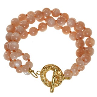 Dallas Prince Gold over Silver and Peach Moonstone Bracelet