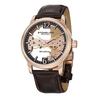Stuhrling Original Men's Cardinal Mechanical Skeleton Leather Strap Watch