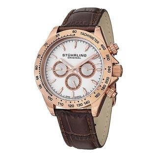 Stuhrling Original Men's Triumph Classic Quartz Leather Strap Watch