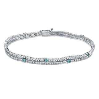 Auriya 14k White Gold 3ct TDW Blue and White Diamond Tennis Bracelet (H-I, SI1-SI2)