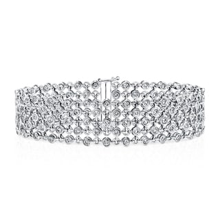 Auriya 14k White Gold 3 3/4ct TDW 5-Row Diamond Bracelet (H-I, SI1-SI2)