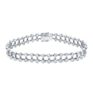 Auriya 14k White Gold 1 1/4ct TDW Bezel Double Row Diamond Bracelet (H-I, SI1-SI2)