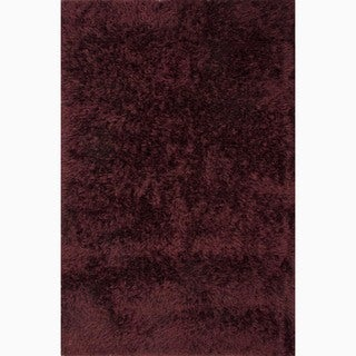 Hand-Made Solid Pattern Red Polyester Rug (9x12)
