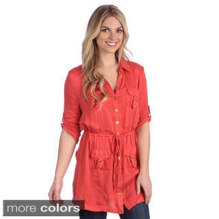 Women's Button-front Goldtone Hardware Blouse