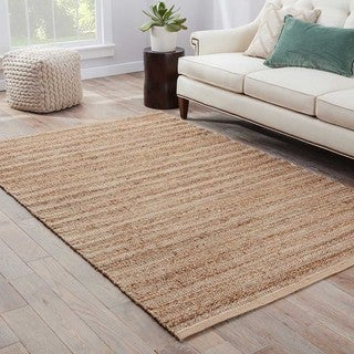 Hand-Made Solid Pattern Taupe/ Ivory Cotton/ Jute Rug (9x12)
