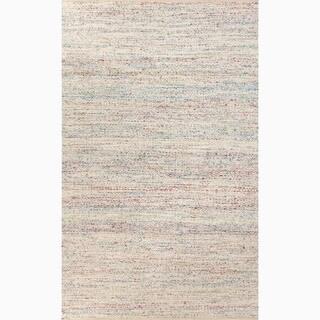 Hand-Made Ivory/ Blue Wool/ Art Silk Reversible Rug (8x10)