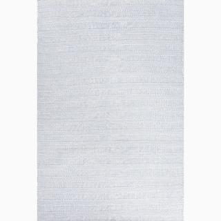 Hand-Made Blue/ Ivory Wool Eco-friendly Rug (8x10)