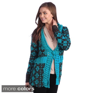 Women's Knit Diamond Print Cardigan