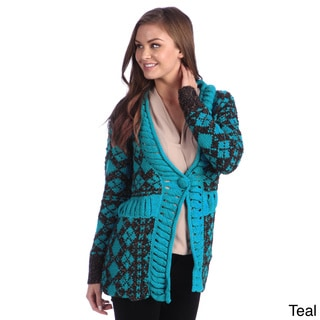 Hadari Women's Knit Diamond Print Cardigan