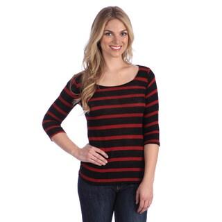 Hadari Women's Black/ Red Striped Sweater
