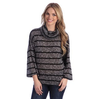 Hadari Women's Striped Turtleneck Slouchy Sweater