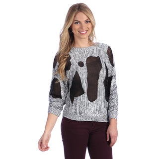 Hadari Women's Grey Cut-out Mesh Panel Sweater