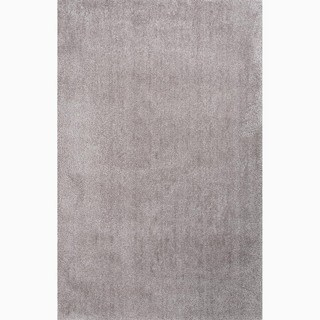 Hand-Made Gray Polyester Plush Pile Rug (8x10)