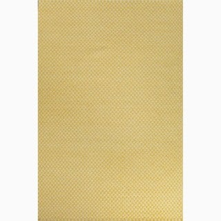 Hand-Made Yellow/ Ivory Wool Eco-friendly Rug (8x10)