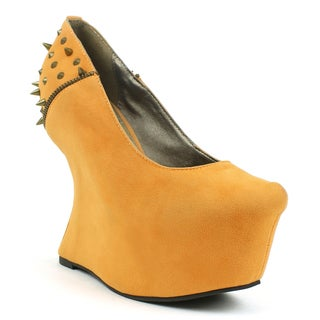 Fahrenheit Women's 'Lara-03' Spiked Zipper Heel-less Wedges
