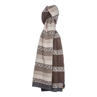 Fendi Striped Zucchino Wool Blend Scarf