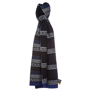 Fendi Striped Zucchino Gray-and-Blue Wool Blend Scarf