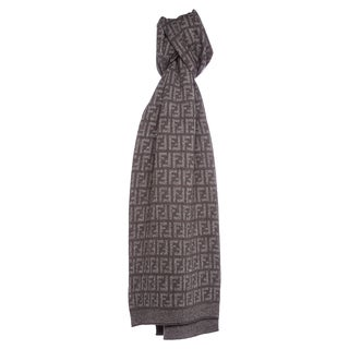 Fendi Zucca All Over Me Wool Scarf in Brown and Grey
