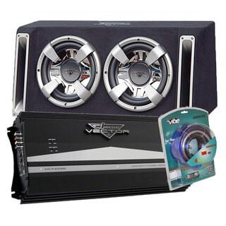 "Lanzar 2000 Watts Dual 10"" Bass Box Enclosure w/ 2 Channel 2350 Watts Mosfet Amplifier w/ Contaq 1800 Watt Power Amp Kit"