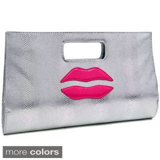 Dasein Snakeskin Textured With Kiss Design Evening Clutch