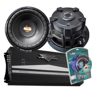 "Lanzar Pair of MAXP124D 12"" 1600W Subwoofers + 2350W High Power Amplifier + 1800W AMP Wiring KIT"