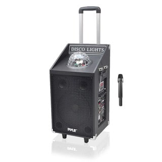 Pyle PWMA1594UFM 600 Watt Bluetooth Battery Powered Portable PA Speaker System w/ FM Radio, Wireless Mic and Flashing Lights