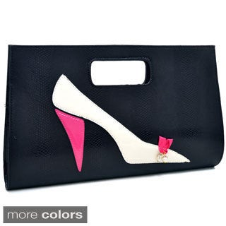 Dasein High Heel on Snakeskin Textured Evening Tote Clutch