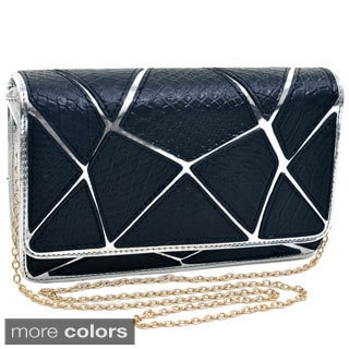 Dasein Embossed Croco Patch Chrome Clutch