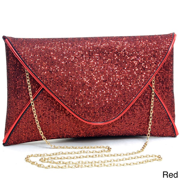 Dasein Glamorous Metallic Sparkle Envelope Clutch Purse
