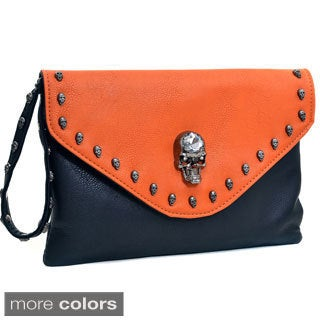 Dasein Skull Adorned Two Tone Envelope Clutch Purse