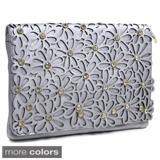 Dasein Large Floral Cutout Rhinestones Clutch Purse