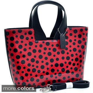 Dasein Glossy Polka Dot Satchel Handbag With Faux Leather Trim