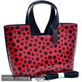 Dasein Glossy Polka Dot Satchel Handbag With Faux Leather Trim