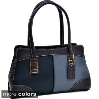 Dasein Color Block Shoulder Bag Handbag With Stitch Design
