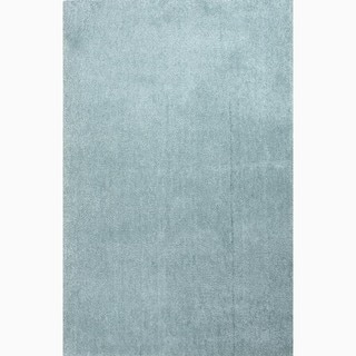 Hand-Made Blue Polyester Plush Pile Rug (8x10)