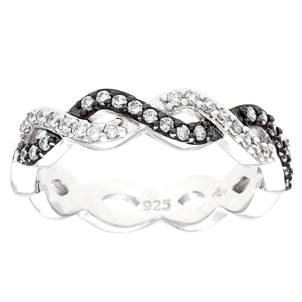 Sterling Essentials Black and White CZ Inifinity Ring