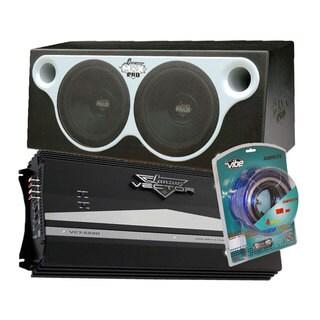 Lanzar Max 2000W Dual 12'' Subwoofer Ported Enclosure + 2 Channel 2350W Mosfet Amplifier + Contaq 1800W 4 Gauge Amp Kit