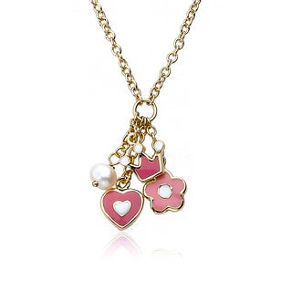 14K Gold Plated Little Miss Twin Stars Rocking Royalty Necklace