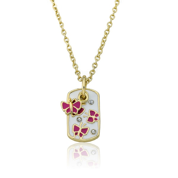 14k Gold Plated Little Miss Twin Stars Butterfly Necklace