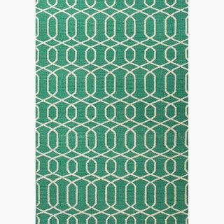 Hand-Made Geometric Pattern Green/ Ivory Wool Rug (9x12)