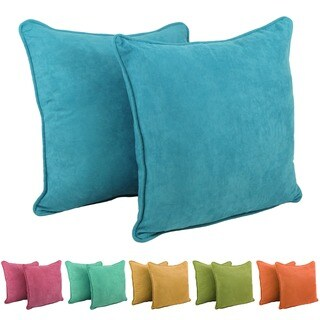 Blazing Needles 25-Inch Microsuede Floor Pillows with Cording and Inserts (Set of 2)