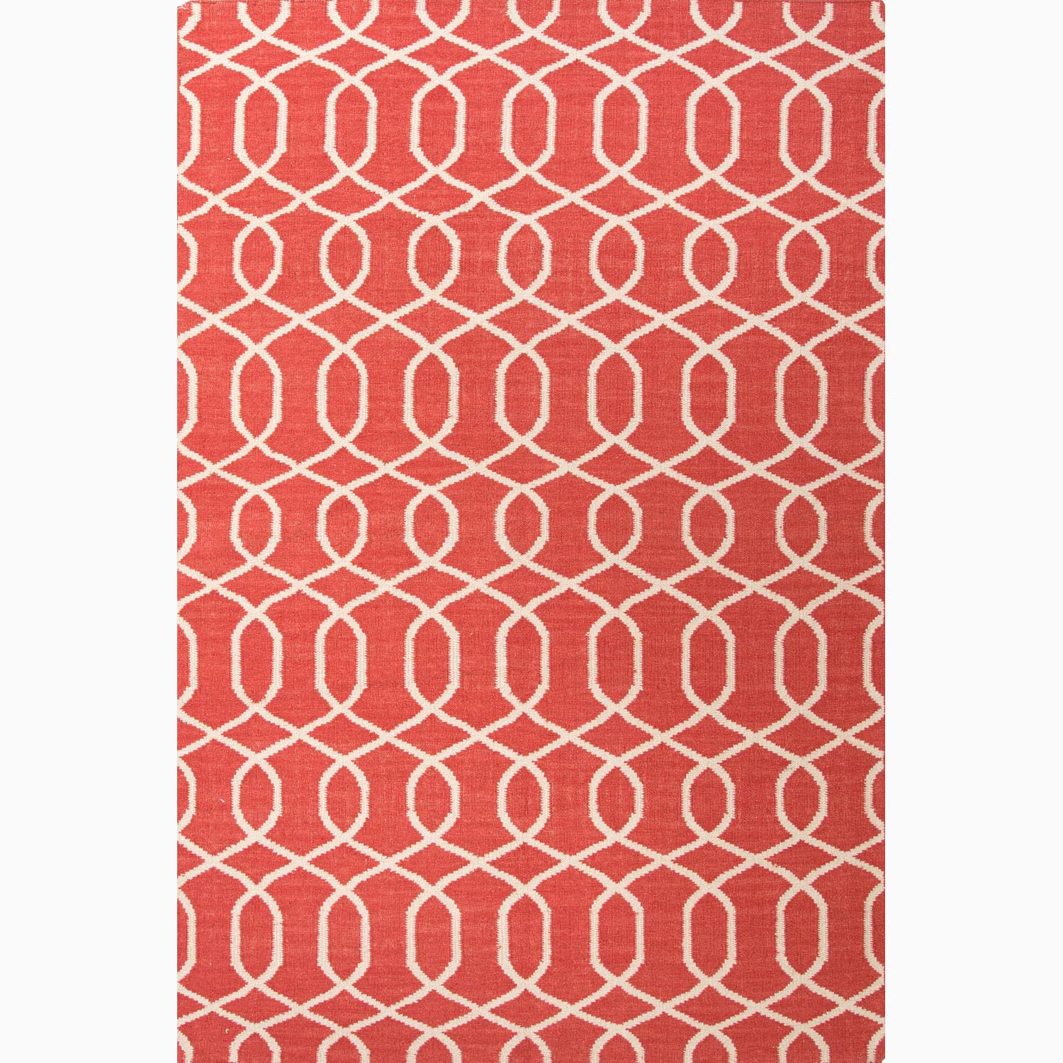 Handmade Geometric-pattern Contemporary Red/ Ivory Wool Rug (9' x 12')